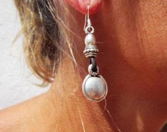dangle earrings, Women drop earrings, leather sterling silver earrings, charm earrings, stud earrings, Pesonalized