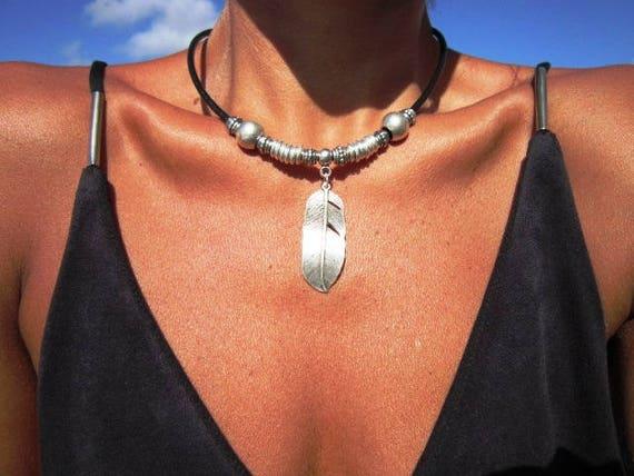 Boho jewelry, bohemian jewelry, feather jewelry, bohemian necklaces, boho necklace, silver jewelry, fashion jewelry, ethnic jewelry