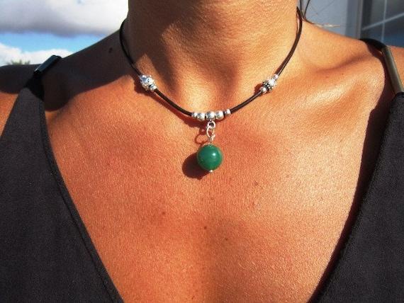 dainty necklace, dainty choker, dainty necklace silver, green pendant, boho necklace, boho jewelry, bohemian jewelry, hippie jewelry