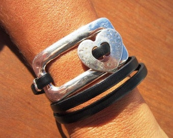 wrap bracelet, heart bracelet, heart jewelry, Women's bracelets, silver bracelet, leather bracelet, beaded Bracelets, charm Bracelets