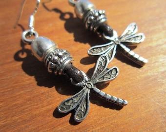 dragonfly earrings, dangle  Women earrings, drop earrings, leather earrings, sterling silver earrings, stud earrings, Pesonalized