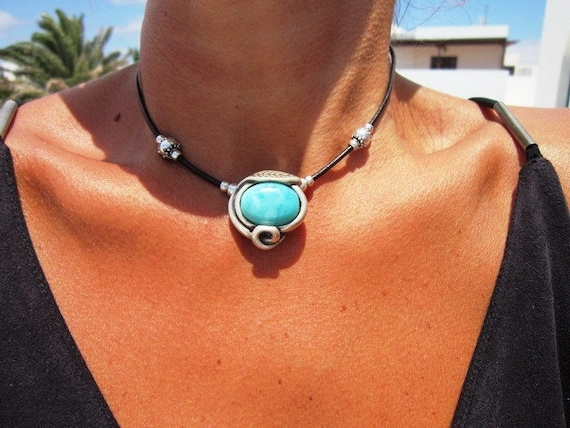 turquoise necklace, turquoise choker, turquoise jewelry, bohemian necklace, choker boho necklace, bohemian jewelry