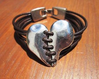 Women leather bracelet, heart bracelet,silver heart bracelets, heart bracelets, bracelets for women, fashion bracelets, fashion jewelry
