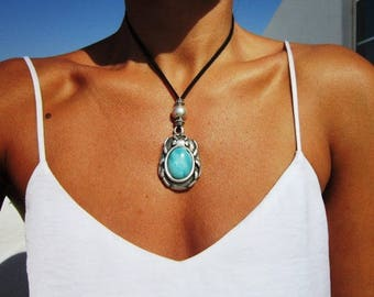 Scarab pendant necklace, long necklace, necklaces for women, silver necklace, bohemian necklace, boho jewelry, pendant, costume jewelry
