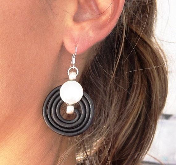 silver and leather earrings, earrings for women, drop earrings, sterling silver hook earrings