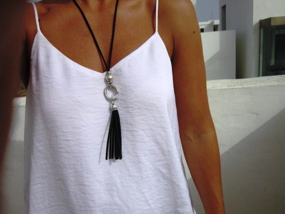 long leather necklace, tassel necklaces, bohemian jewelry, boho necklace, silver jewelry, fashion jewelry