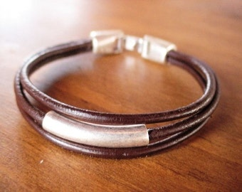 Silver and Leather mens bracelet, friendship couples bracelet, men cuff bracelet, handmade silver mens jewelry, unique gifts for men