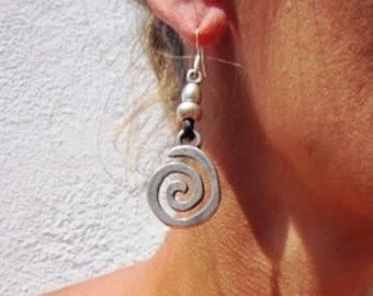 spiral earrings, dangle earrings, Womens drop earrings, leather earrings, sterling silver earrings, charm earrings, stud earrings