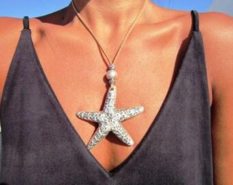 summer beach pendant necklace, long necklace, bohemian jewelry, boho necklace pendant, starfish pendant necklace