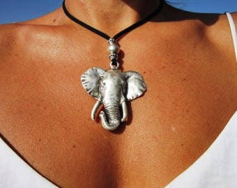 Elephant necklace, leather necklaces for women, long pendant necklace, leaf necklace, leather cord necklace, long necklace boho