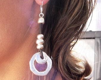 handmade earrings, leather earrings for women, drop earrings, leather earrings, sterling silver earrings, stud earrings