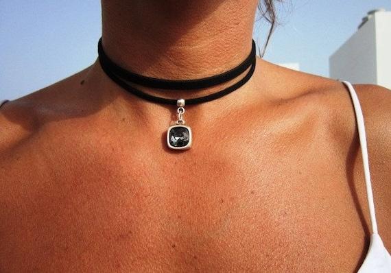 unique necklace, choker necklace, black necklace, beaded necklace, sterling silver necklaces, necklaces for women, fashion designer