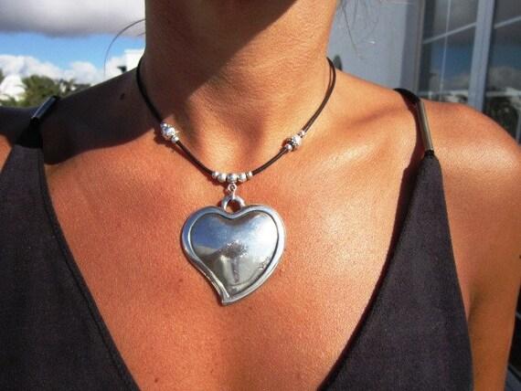 boho jewelry heart choker, heart necklace pendant, women choker necklace, silver heart pendant necklaces