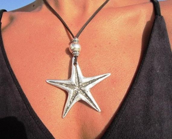 long pendant necklace, starfish pendant, starfish necklace, long necklace boho, long necklace silver, long statement necklace