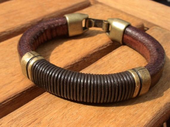 Brass and Leather mens bracelet, friendship couples bracelet, men cuff bracelet, handmade mens jewelry, unique gifts for men