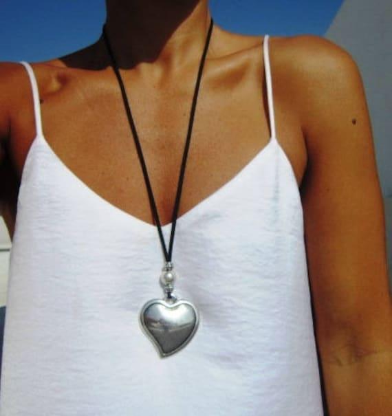 Heart pendant necklace, long necklaces for women, silver heart pendant, boho jewelry, alternative style