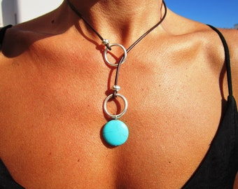 statement turquoise necklace lariat, silver beaded necklaces for women