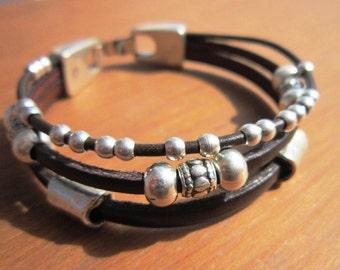 multi strand womens bracelet, cool leather bracelet jewelry, fashion jewelry
