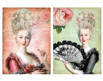 5x7 Printable Beautiful Marie Antoinette Images No.4 - Printable Postcards,Prints, Scrapbooking Supply, Paper Craft, Digital Collage Sheet