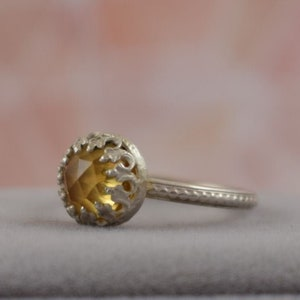 metalwork ring gemstone ring retro silver jewelry Yellow chalcedony ring