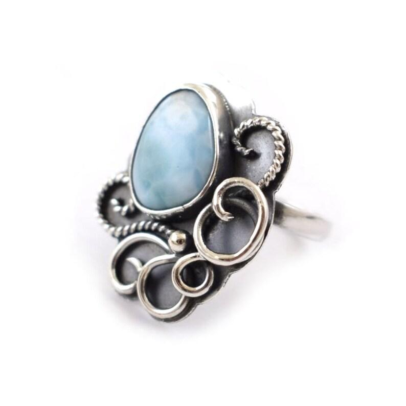 adjustable ring Larimar sterling silver ring retro metalwork statement ring