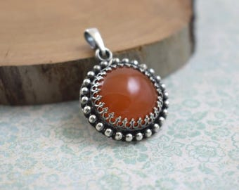 Orange carnelian pendant, retro pendant, metalwork jewelry, silver jewelry