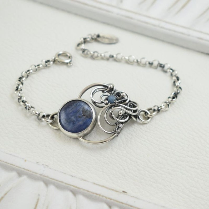 Kyanite Gift Tanzanite Handmade Wire Wrapped Sterling Silver Pendant