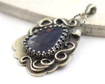 Sapphire pendant, gemstone fine pendant, metalwork jewelry, sterling silver jewelry