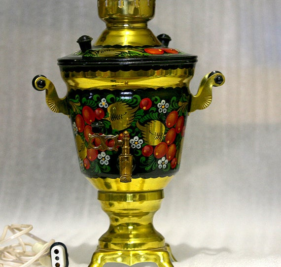 Soviet Russian Samovar Hand Painted Electric Samovar Metal