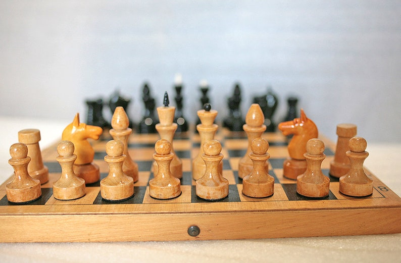 Soviet chess set Vintage wooden chess USSR Moscow chessboard Wood chess