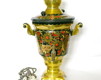 Soviet Russian Samovar Hand Painted Electric Samovar Metal Tea Pot Working Metal 1991 from Russia Soviet Union USSR