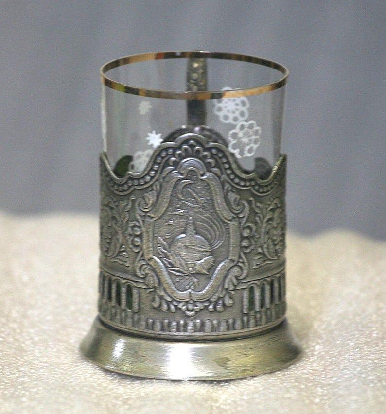 Vintage Russian Soviet Melchior podstakannik SPUTNIK tea glass holder
