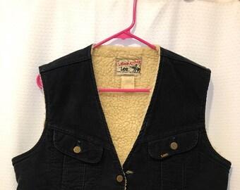Vintage Lee Navy Corduroy Storm Rider Fleece Lined Vest- Womans M, Mens Small