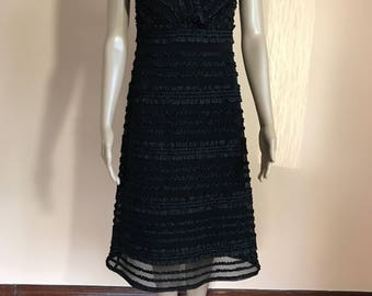Classy Black Tadashi Neiman Marcus Ruffle and Mesh Evening Dress Woman's Size 4