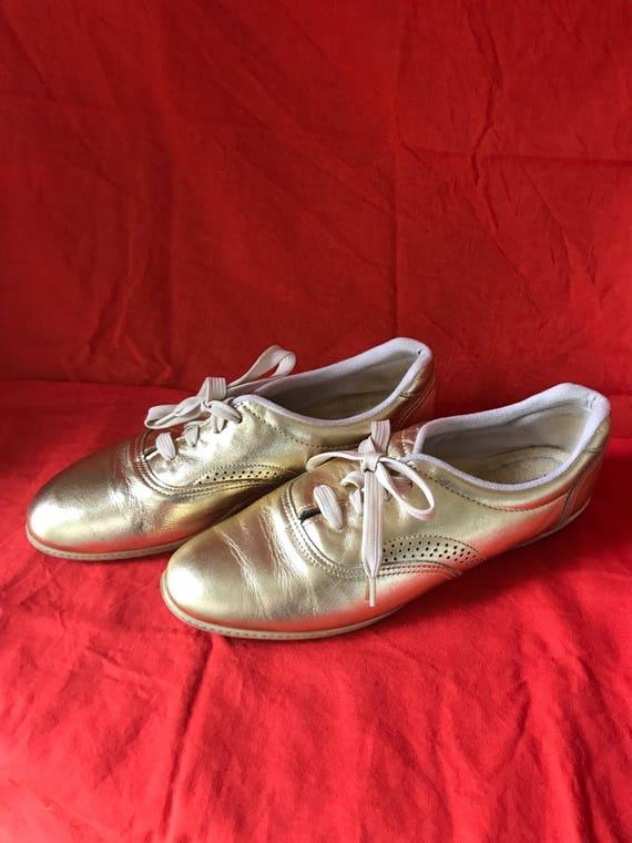 Vintage Daniel Green Metallic Gold Leather Fashion