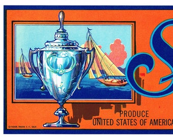 **AN ORIGINAL LABEL** SILVER CUP Vintage Grape Crate Label Regatta Sailboat