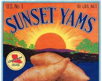 Original vintage yam crate label 1940s Sunset Yams Louisiana Setting Sun 1940s