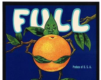 Original vintage Florida citrus crate label c1940s Flo Oak Hill American Indian Girl