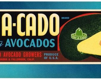 Original vintage avocado crate label 1950s Try-A-Cado La Habra  Fallbrook San Diego County California