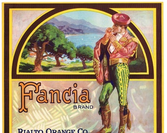 Original vintage citrus crate label 1930s Fancia Bullfighter Plein Aire Toreador Rialto San Bernardino California