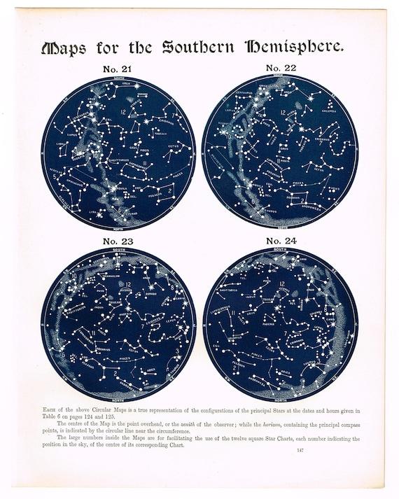 Original Antique Astronomy 1887 print star chart map classic Indigo Blue Night Sky November /& December Clay Coated Paper