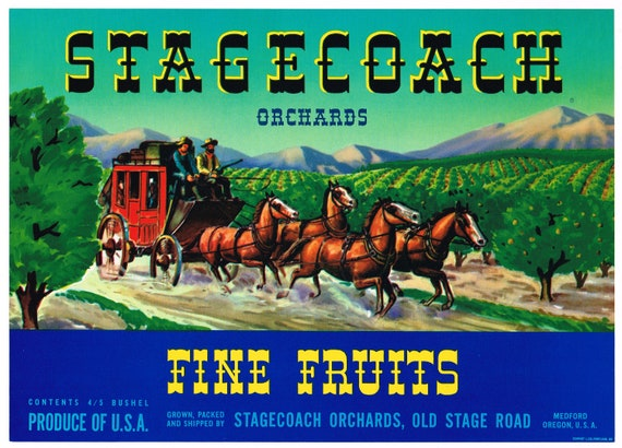 CRATE LABEL VINTAGE STAGECOACH MEDFORD WESTERN ORIGINAL 1950S OREGON COWBOY RED