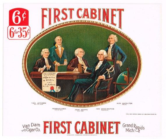 Original vintage cigar box label c1915 First Cabinet George Washington John Adams Alexander Hamilton Grand Rapids Michigan
