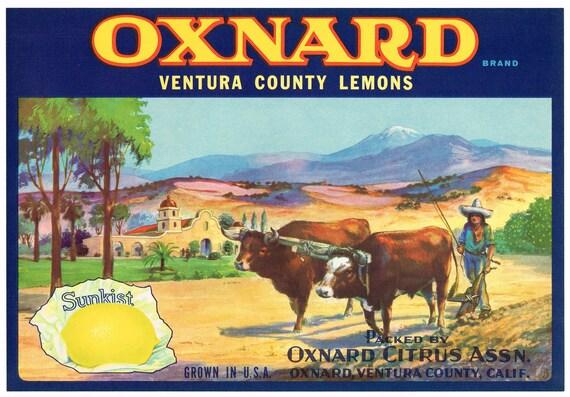Oxnard Ventura County Sea Bound Ship Lemon Citrus Fruit Crate Label Art Print