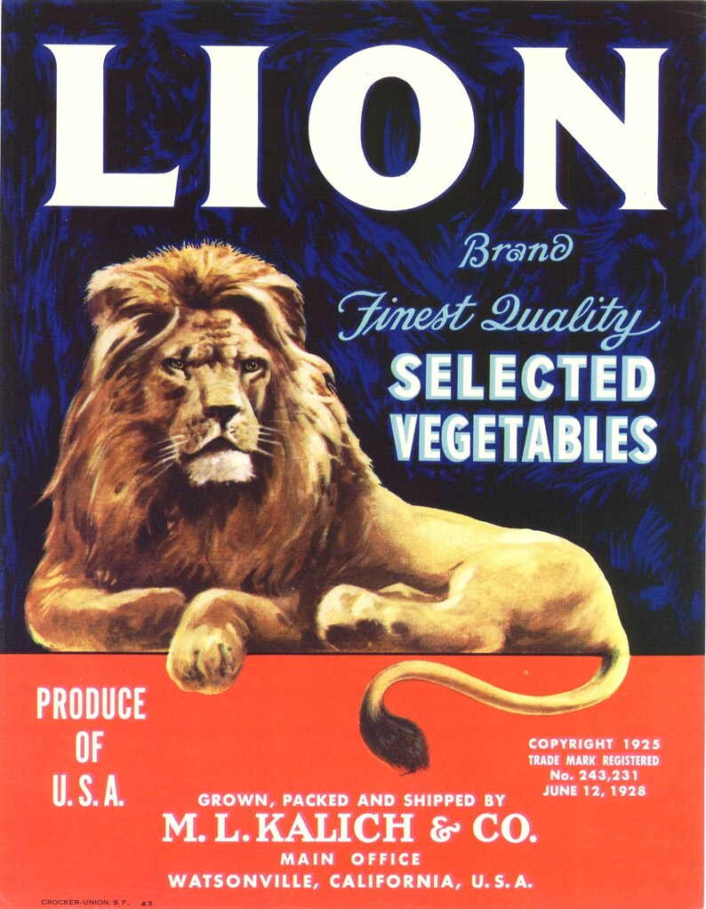 VEGETABLE CRATE LABEL LION BRAND WATSONVILLE CALIFORNIA ORIGINAL 1930S KING