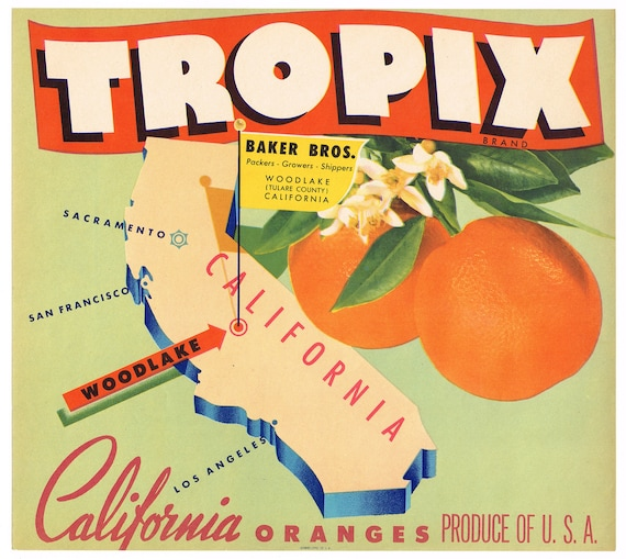 ORBIT~ORANGE in SPACE~SCARCE ORIGINAL 1930s EXETER CALIFORNIA FRUIT CRATE LABEL