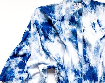 INDIGO 100% bamboo rayon robe / shibori indigo robe / rayon silk robe / blue tie dye robe / hand dyed robe / tie dye bathrobe / kimono
