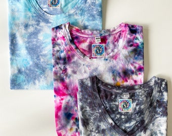 WEAR EVERYWHERE women's hand dyed tie dye t-shirts / 100% Supima cotton crewneck and v-neck t-shirts in pink, light blue, and black