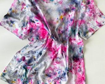 GARDEN PARTY Wear Everywhere women's hand dyed tie dye t-shirts / 100% Supima cotton crewneck v-neck t-shirt / pink tie dye t-shirt