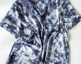 ONYX Wear Everywhere women's hand dyed tie dye t-shirt / 100% Supima cotton crewneck and v-neck t-shirts in black / black tie dye tshirt